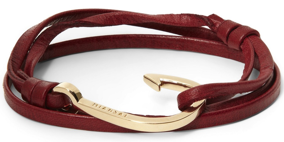 Miansai Leather And Metal Hook Bracelet Blankmode
