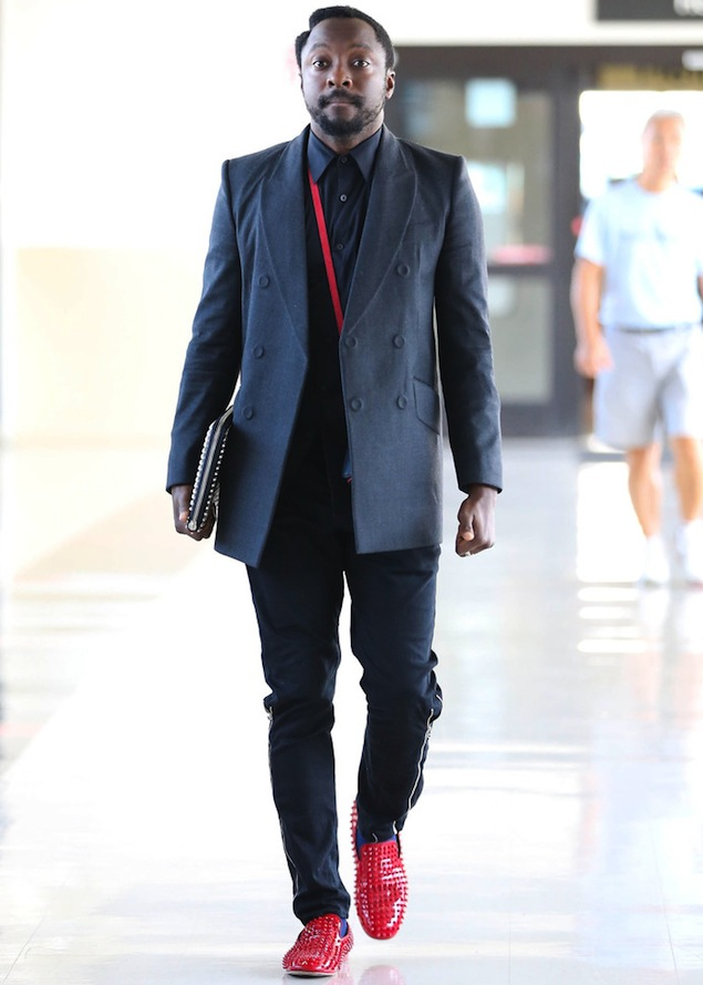 72cadec5c454 Will i Am wearing Christian Louboutin Red Patent Leather Rollerboy Spikes  Loafers
