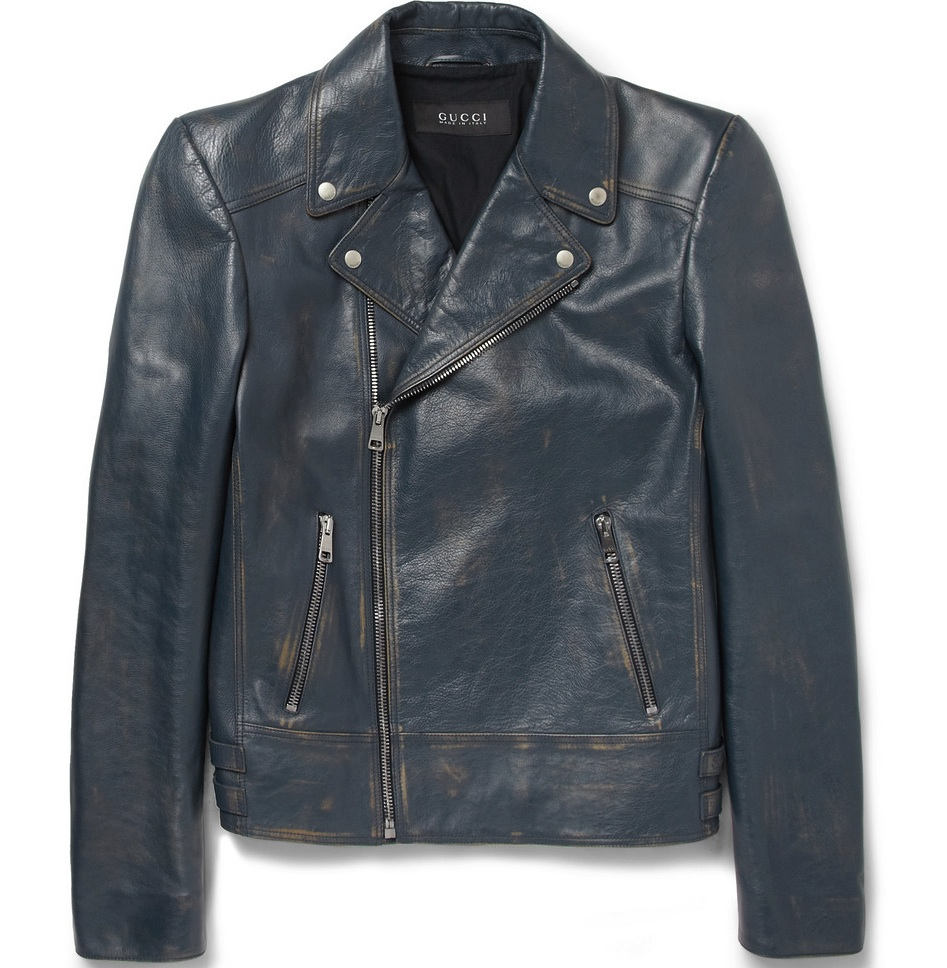 Gucci Distressed Leather Jacket   BLANKMODE