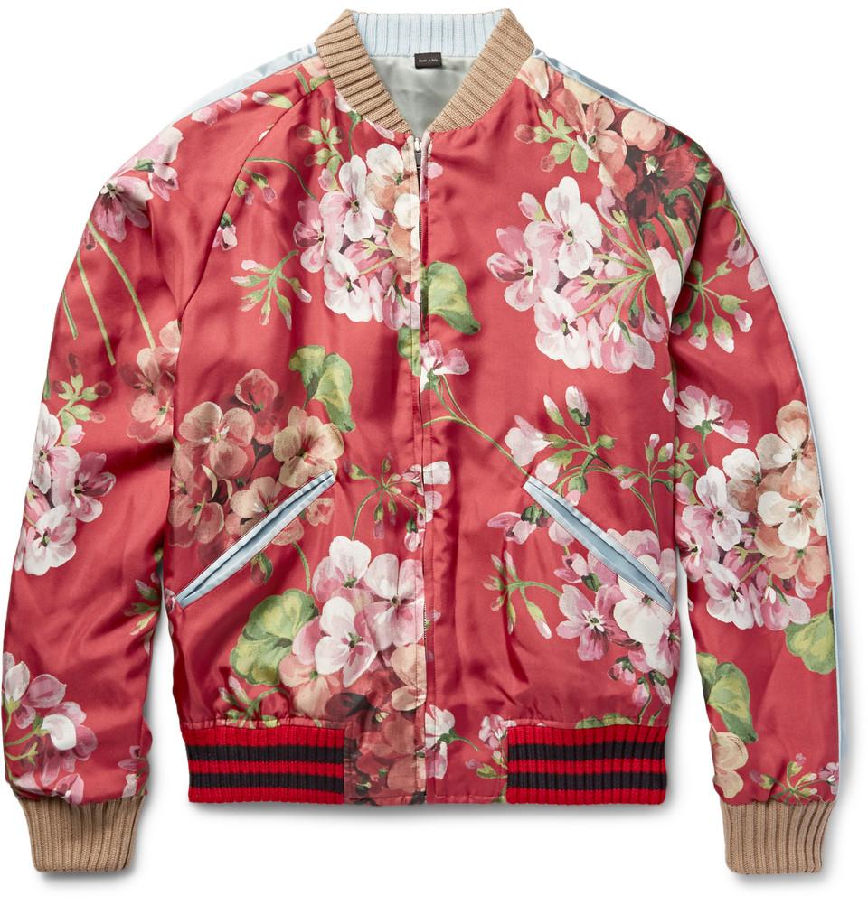 7bf0ecae8 GUCCI Reversible Geranium-Print Silk-Twill Bomber Jacket – BLANKMODE